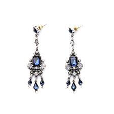 NEW * J CREW Victorian Weave Royal Blue Rhinestone Spike Drop Earrings