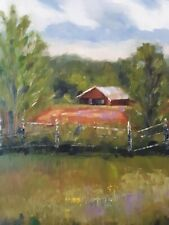 Oil painting, impressionism, landscape,original, texture, barn, signed