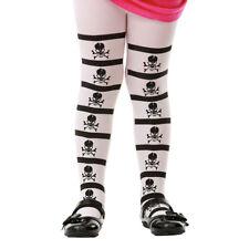 Striped Skulls Crossbones Pirate Gothic Halloween Costume Tights for Girls Kids