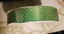 """New listing 3 Yds Green Satin Ribbon 5/8"""" White Swiss Dots Spring Easter Baby New"""