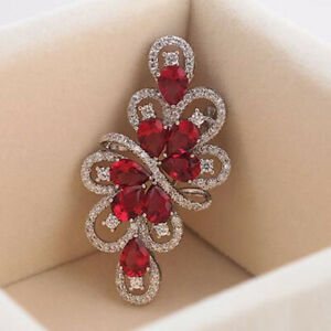 2.24ct Natural Round Diamond 14k Solid White Gold Ruby Gemstone Brooch Pin
