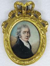 ANTIQUE HAND PAINTED MINIATURE PORTRAIT OF GENTLEMAN 18 Century