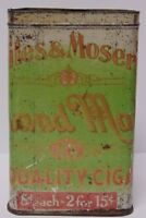 Old Antique Vintage 1940s NILES & MOSERS ADVERTISING CIGAR TIN OHIO FACTORY USA