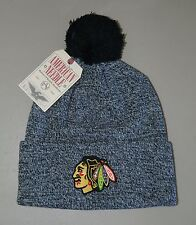 Chicago Blackhawks NHL Knit Pompom Beanie Heather Black Embroidered Logo One Sz