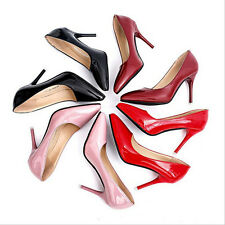 Women's Sexy High Heels Pointed Toe OL Stilettos Patent Leather Lady Shoes D90