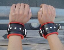 Leather Wrist Cuffs Handcuffs with Soft Suede Padding made in Europe Black & Red