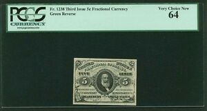 "1864-69  5 CENT FRACTIONAL CURRENCY FR-1238 CERTIFIED BY PCGS ""CHOICE NEW"" 64"