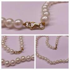 Akoya Perlen Kette mit 585er Gold Verschluß Perlencollier Perlenkette