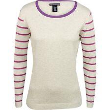 New Womens Oxford Brand Charlotte Crew Neck Golf Sweater Size Medium Gray Purple
