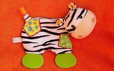 "Nuby Zebra Comforter Blankie Doudou Activity Toy Teether 7"""