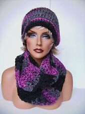 BLACK RASPBERRY PINK HAND CROCHET HAT AND INFINITY SCARF SET HAND MADE BEANIE
