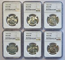 1954 D 50C US Franklin Silver Half Dollar Coin (NGC MS 64 FBL MS64FBL) (04910)