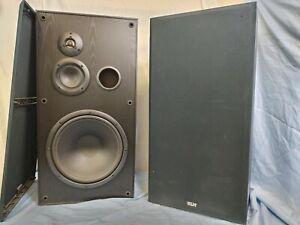 KLH-9912 - 3-Way Floor Speakers - Black Wood Cabinets - (tested/working)