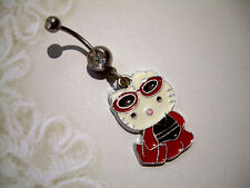 Belly Button Navel Ring 14g Hello Kitty QQ Enameled Dangle Charm Red Black White