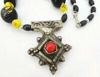 Vintage Genuine Trade Glass Black Beaded Necklace Hollow Silver Pendant Red Bead