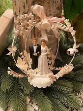 Antique Wedding Cake Topper Vintage Sweet Brunette Couple Flowers Tulle Veil
