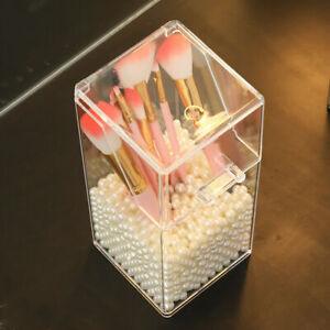 Dust-proof desktop storage box, eye shadow brush, makeup brush, pearl storage #