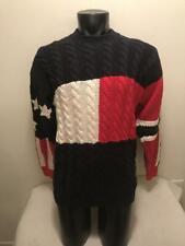 Vtg Tommy Hilfiger Big Flag USA Stars & Stripes Cable Knit Sweater Mens Medium