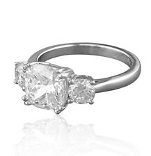"""SIZE K 1/2 - SILVER """"MEGHAN MARKLE"""" REPLICA 3 STONE ENGAGEMENT RING"""