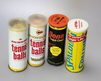 VTG! 4 Tennis Ball Tin Cans Dunlop- Penn -Spalding - Penn | Great Graphics!