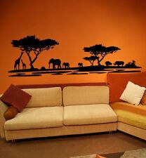 Premium Wandtattoo Afrika Elefanten Giraffen schwarz 186 x 60cm Motiv #72