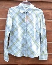 ddb2e4a8e04bd FADED GLORY Women s Stretch Plaid Button down Shirt Size M (8 10) NWT