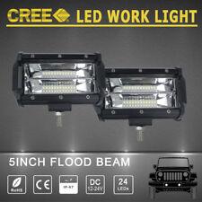 2x 5inch CREE LED WORK LIGHT BAR OFFROAD 12V 24V DC Quad Tractor Pick-up SUV ATV