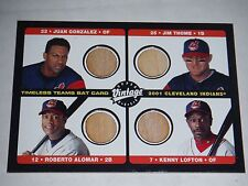 Cleveland Indians 2002 Upper Deck Vintage Timeless Teams Game Used Bat Quad Card