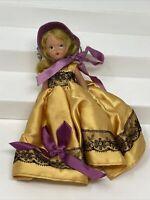 Vintage Nancy Ann Storybook Doll Dark Blonde Bisque Gold Dress Purple Details