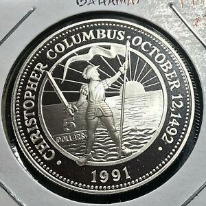 1991 BAHAMAS SILVER $5 CHRISTOPHER COLUMBUS PROOF BRILLIANT UNCIRCULATED CROWN