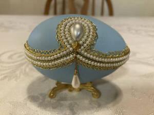 Eggspressions Egg Shaped Trinket Box Pearls & Gold Trim