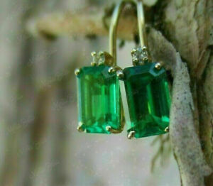 3.00Ct Emerald Cut Green Emerald Drop Dangle Earring In 14K Yellow Gold Finish