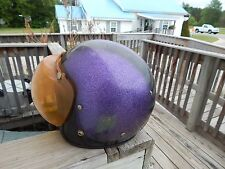Vintage Metalflake Motorcycle Helmet Racing Race w/ Face Shield Mask Metal Flake