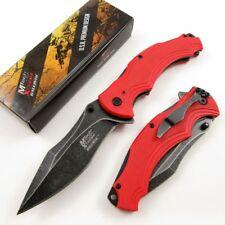 Spring-Assist Folding Pocket Knife Mtech Red Tactical Stonewash Blade Edc