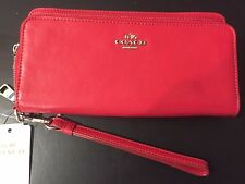 NWT Coach Double Accordion Zip Wallet in Smooth Leather Silver True Red F52103