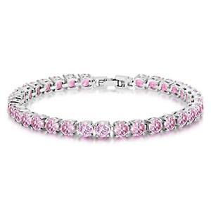 "5mm Round Pink Sapphire Cubic Zirconia CZ Tennis Bracelet White Gold Plated 7.5"""