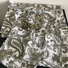 Valerie Bertinelli Paisley Pattern Cloth Placemats Napkins Beaded Rings Set