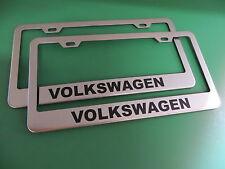 "(2)NEW "" VOLKSWAGEN "" VW Stainless Steel license plate frame +screw caps"