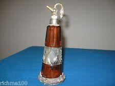Antique Bohemian Czech Perfume Atomizer Vaporizer Cut Glass Amber & Clear Bottle