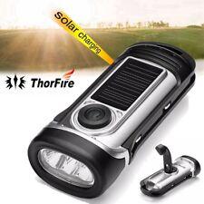 ThorFire Hand Crank & Solar Power Waterproof IPX6 LED Flashlight Emergency Torch