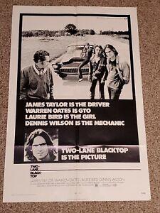 "Vintage ""Two-Lane Blacktop"" One Sheet Movie Poster - 1971 - James Taylor"