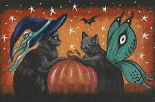 4X6 HALLOWEEN POSTCARD PRINT LE 3/50 RYTA VINTAGE STYLE ART JOL BLACK CAT GOTHIC