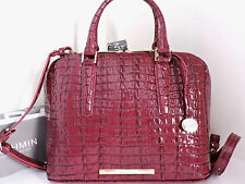 Brahmin Vivian Dome Boysenberry Croc Embossed Leather Satchel Bag NWT