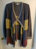 CAbi Blanket Waterfall Open Front Cardigan Sweater Chunky Color Block Sz XL,EXC