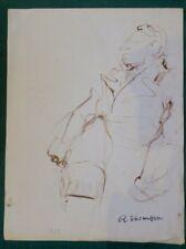 """René THOMSEN """"Portrait d'homme"""" Lavis 1953"""