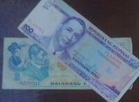 REPUBLIKA NG PILIPINAS PHILIPPINES 2 100 Piso Banknote (1949)