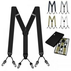 Wide Suspenders IN Y Form With 6 Strong Clips Men's White Black Blue Grey