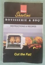 Ronco Showtime Rotisserie Parts Instructions and Recipes Black Booklet