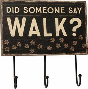 Primitives by Kathy Slat Wood Hook Board Hanging Dog Leash Did Someone Say Walk