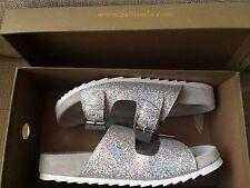 Ash UP Chic Birkenstock Platform Sandals Silver Sparkle UK 5.5 EU 38.5 RRP £108